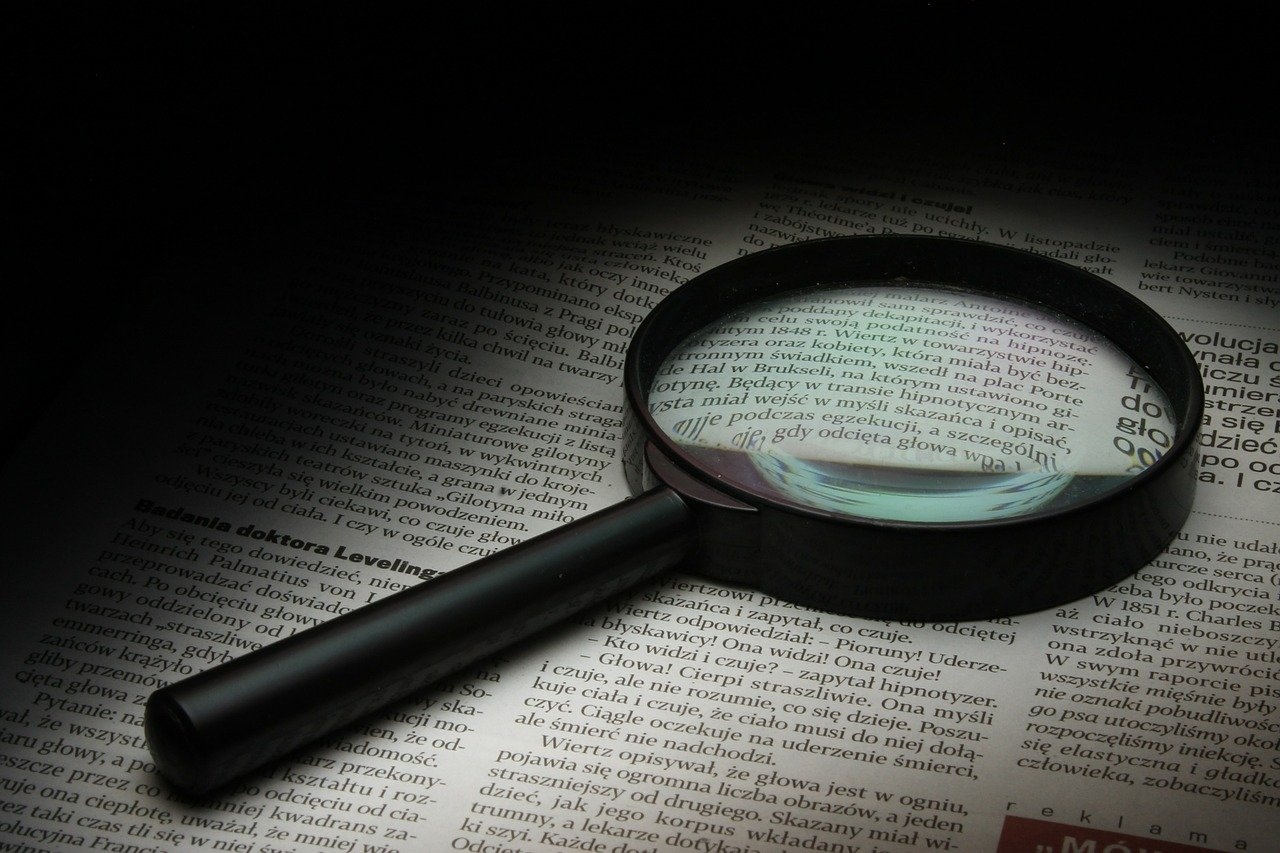 magnifier, newspaper, history